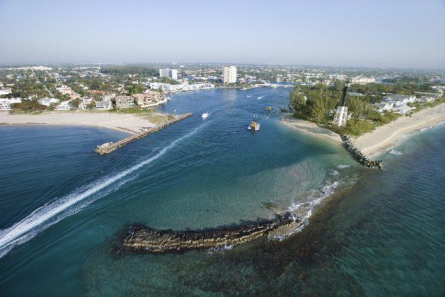 Aerial view of Hillsboro Bay in Pompano Beach, Flordia.